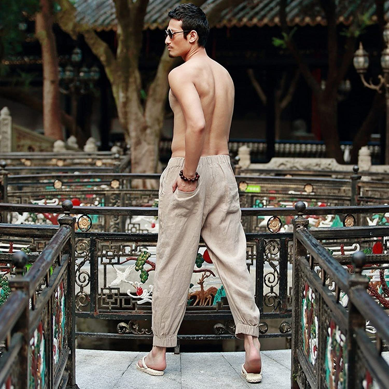 Katuo Men's Causl Harem Pants Elastic Waist Linen Trousers