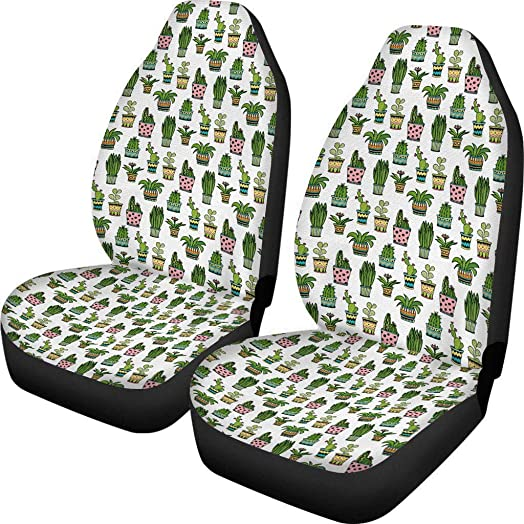 Dreaweet Cactus Print Universal 2pc Front Seat Covers Bucket Seat Mat for Dogs Saddle Blanket Protectors for Car,Sedan,Wagon, SUV Truck