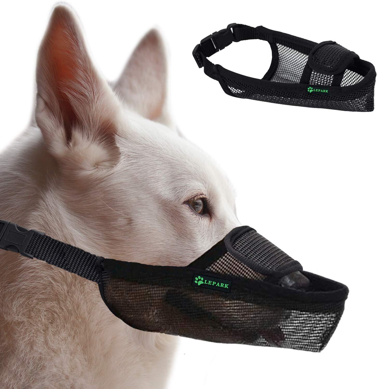 Transpirable Y Ajustable L, Negro Medianos Y Grandes ILEPARK Bozal para Perros De Malla con Velcro para Perros Peque/ños Evitar Morder.