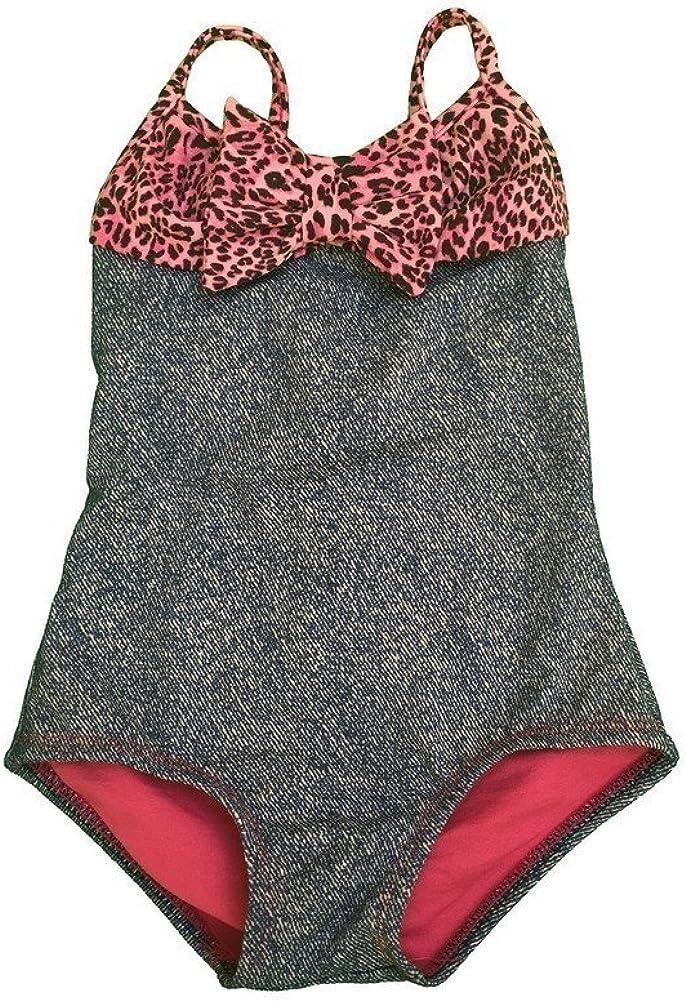 Lemons /& Limes Baby Girls Pink Grey Leopard Safari Print Ruffle 2 Pc Tankini Swimsuit 24M