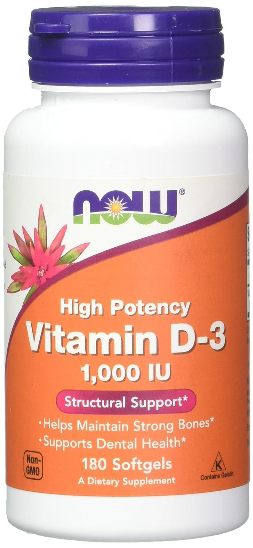 NOW Foods - ビタミンD3の高い潜在的能力 1000 IU - 1ソフトジェル B0058ABSLC