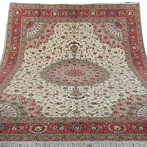 Yilong 9'x12′ Hand Knotted Wool Silk Oriental Carpet Isfahan Persian Floral Handmade Antique Area Rug for Living Room (9…