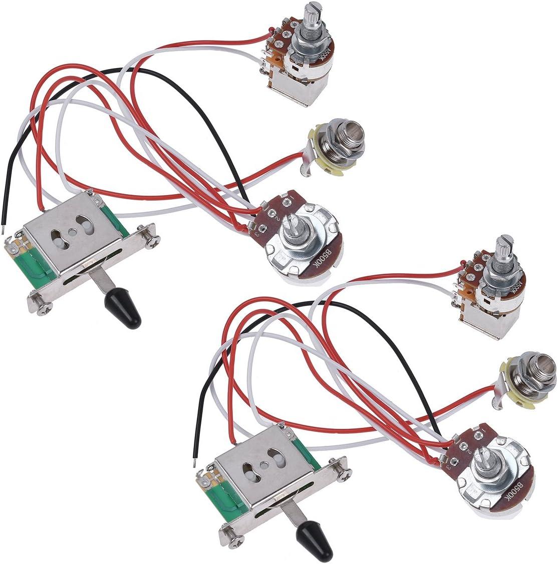 amazon.com: kmise electric guitar wiring harness prewired kit 3 way toggle  switch 1 volume 1 tone 500k pots jack 2 set: musical instruments  amazon.com