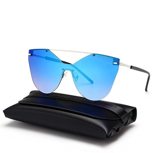 de59a561234 DRAGON CHARM Women s Oversized One Piece Sunglasses Retro Mirror Rimless  Glasses Blue Reflective Lens