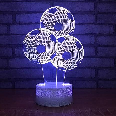 Nueva forma de balon de futbol 3D LED luz de la noche 7 cambio de ...