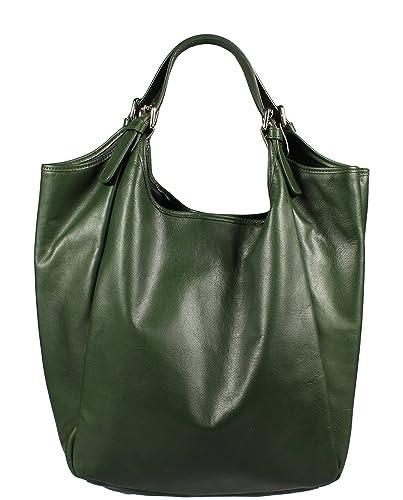 f3f46fe8c7065 Schöne praktische Leder Grüne Handtasche aus Leder Adelaide Verde über die  Schulter
