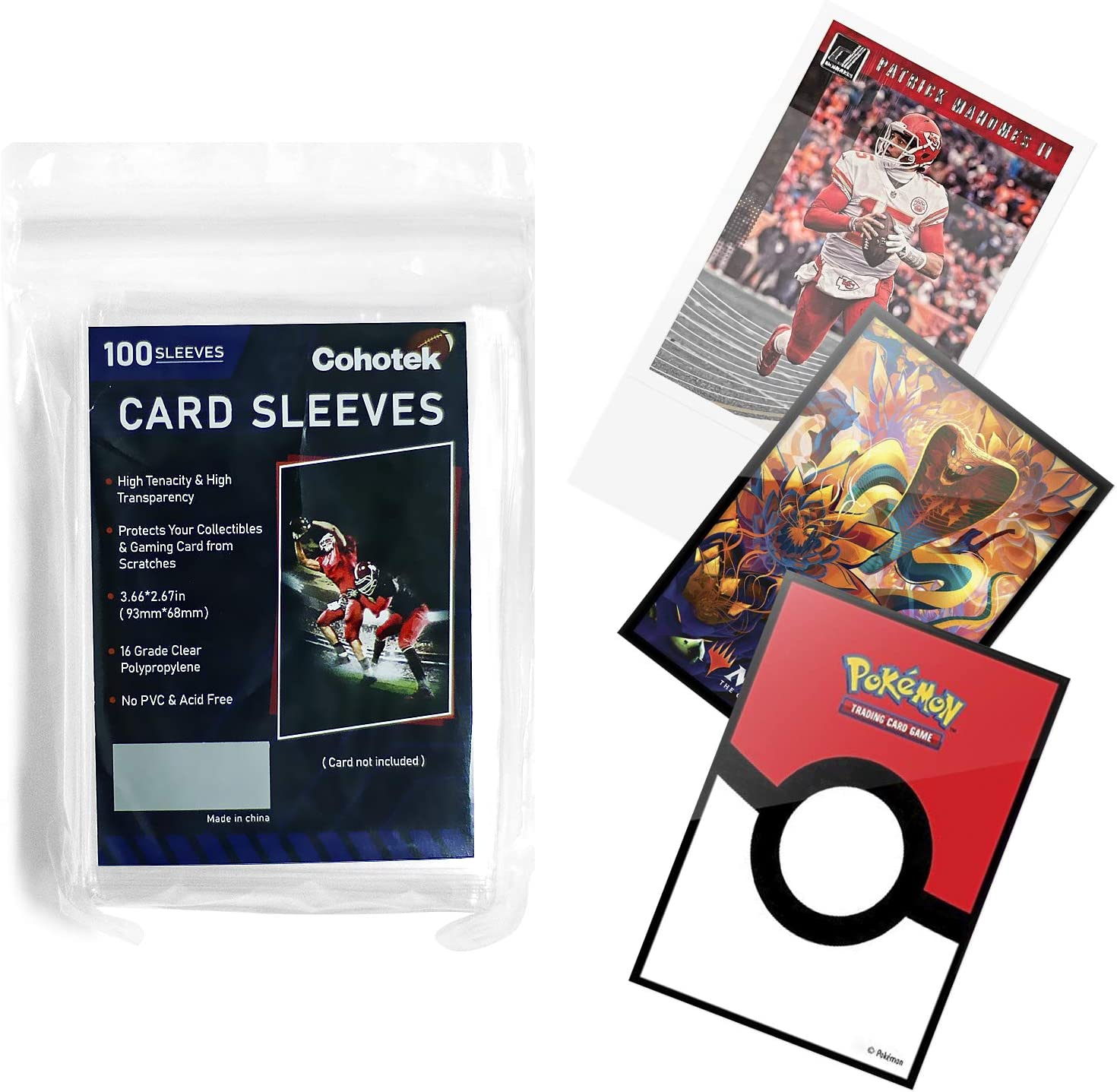 """100 Counts Clear Soft Card Sleeves, Cohotek Trading Card Sleeves Deck Protector Sleeves for Standard Size Cards 2.5"""" x 3.5"""": Office Products"""