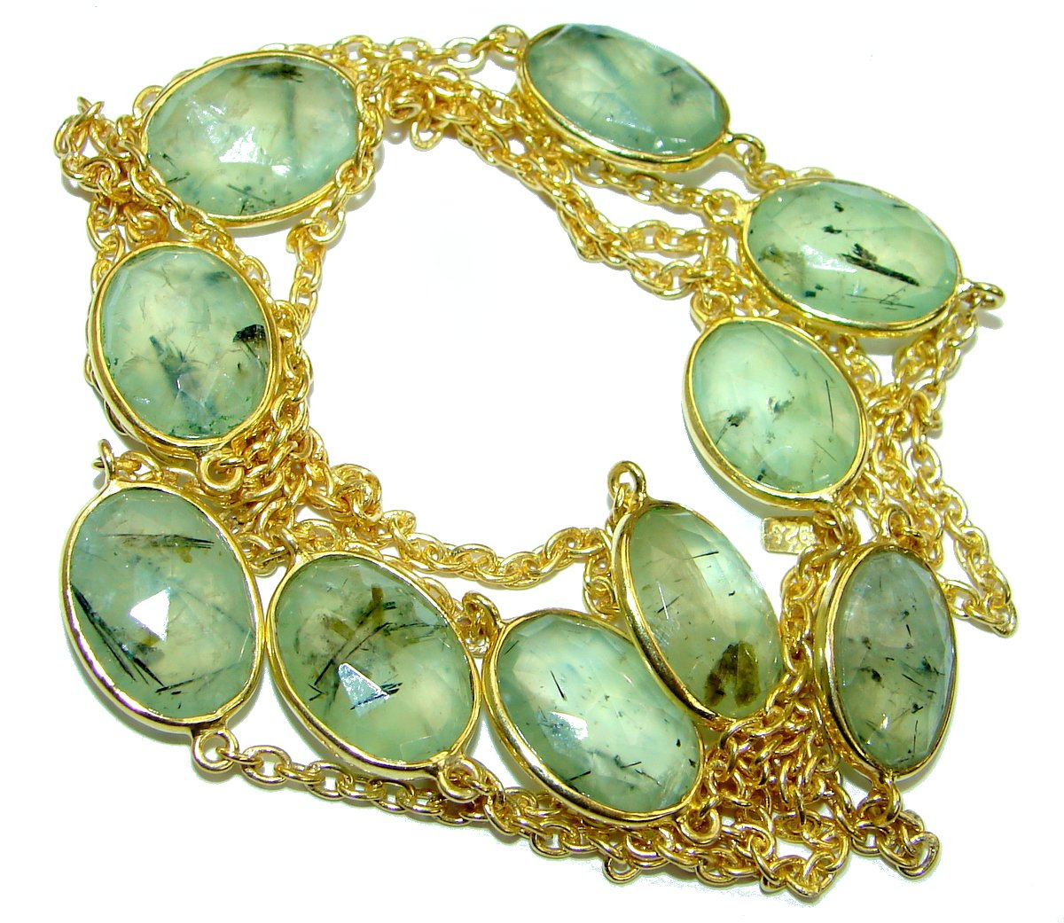 SilverRush Style Moss Prehnite Women 925 Sterling Silver Necklace - FREE GIFT BOX