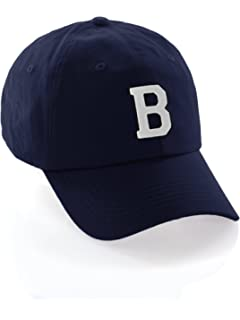 Custom Dad Hat A-Z Initial Raised Letters Classic Baseball Cap - Navy Hat  with Black White fc82978e885d