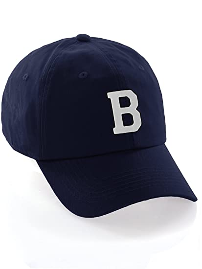 bcf4e53abcd1b Custom Dad Hat A-Z Initial Letters Classic Baseball Cap - Navy Hat with  Black White Letter