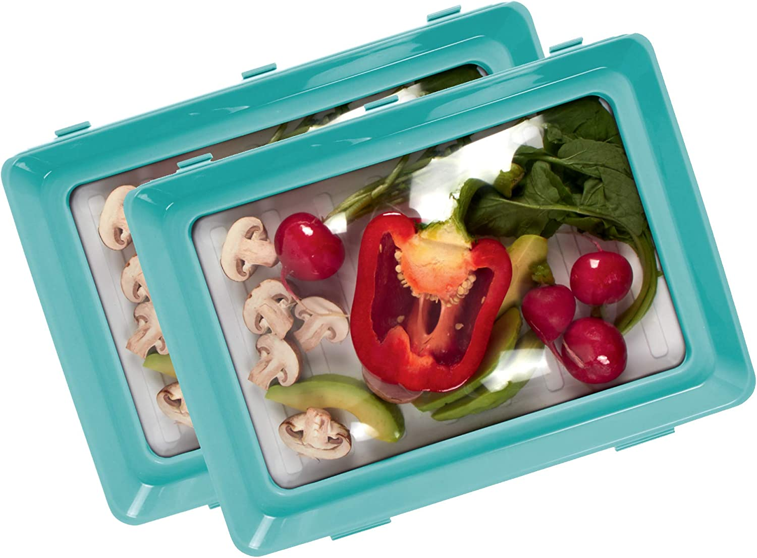 Skinny Stacks - Stackable Food Storage Trays, Saves Space and Keeps Food Fresh, Reusable - Dishwasher & Freezer Safe - Air Sealed, Durable, Food Preserver, Meal-Prep, Food Storage Containers