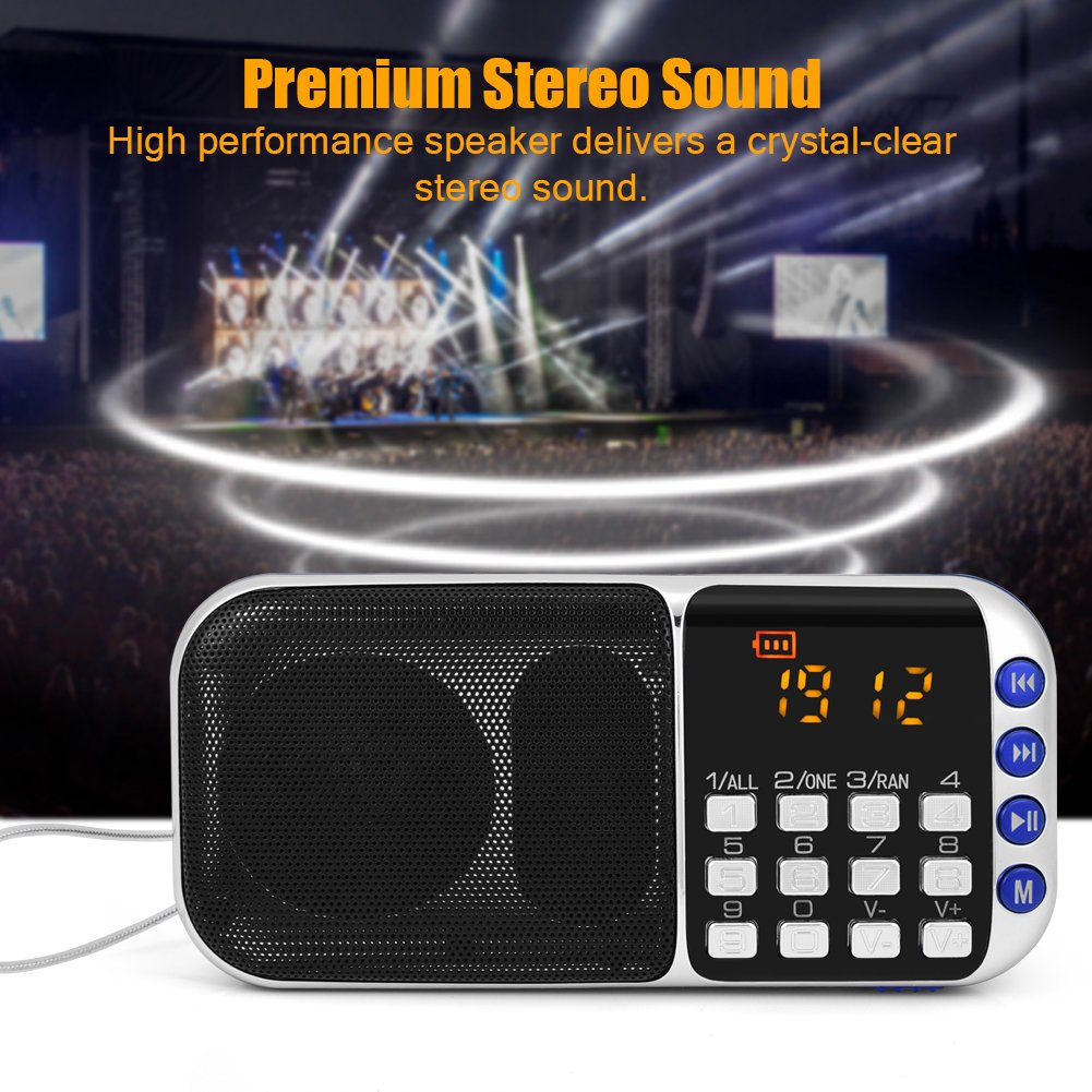 Zerone Portable FM Radio HiFi Stereo Multimedia Speaker Loud Sound Walkman Mp3 Music Player Support Micro SD TF Card USB Disk AUX with LCD Display(Blue) by Zerone (Image #7)