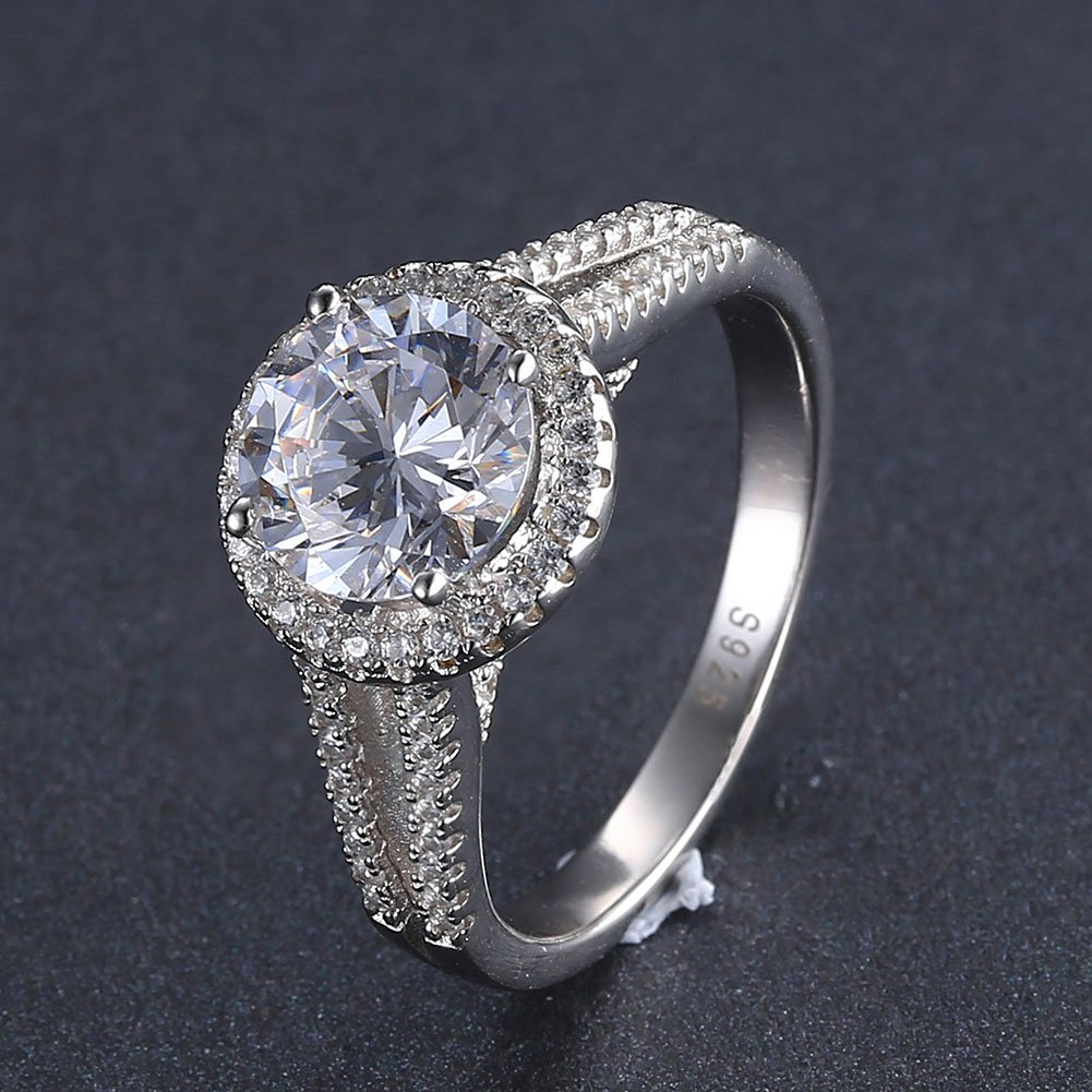 Mozume 3ct Round Cut Cubic Zirconia 925 Sterling Silver Engagement Wedding Halo Ring Fine Jewelry For Women Best Gift (7) by Mozume (Image #3)