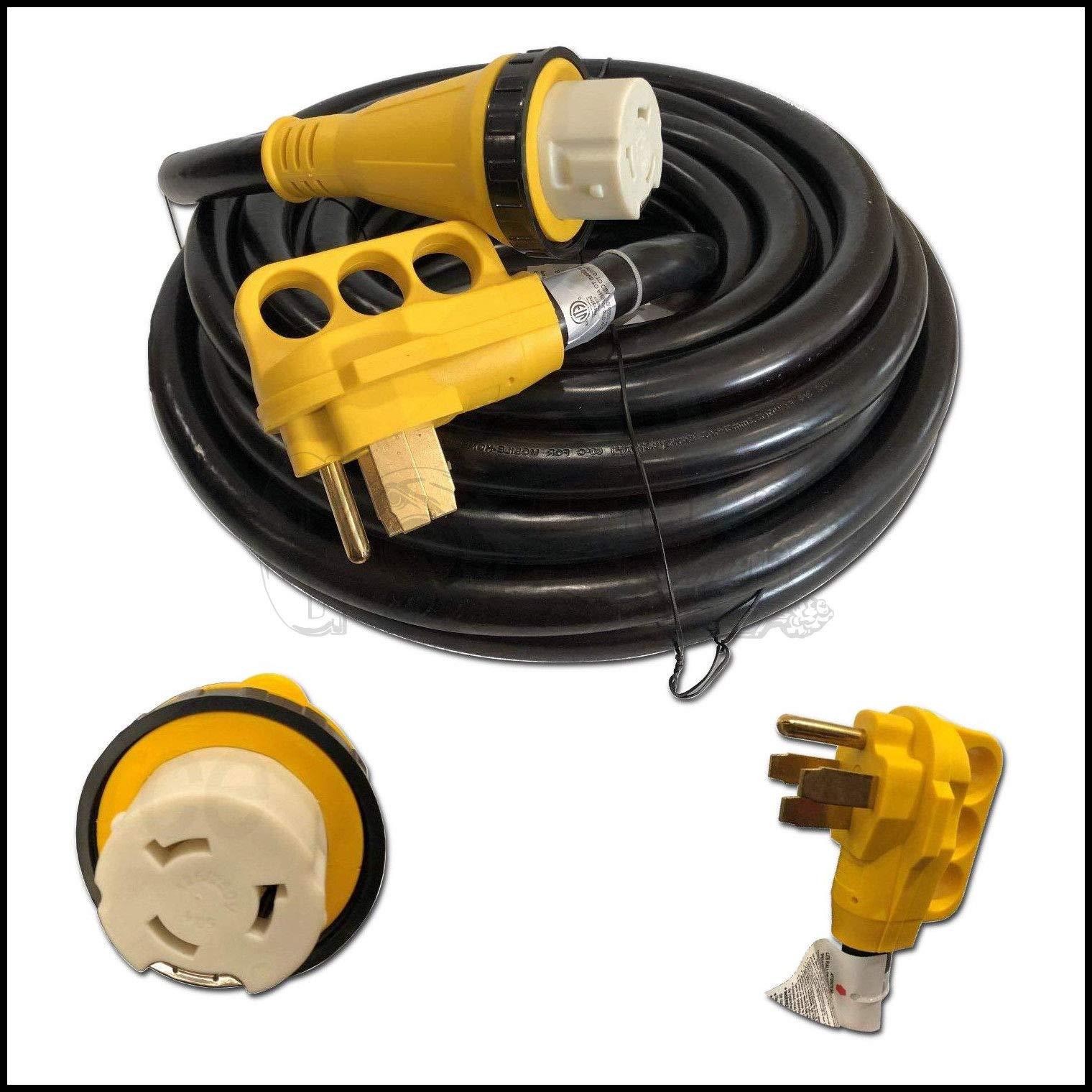EnergyPlug New 50 Foot 50A RV Extension Cord Adapter Shore Power NEMA 14-50P to SS2-50R