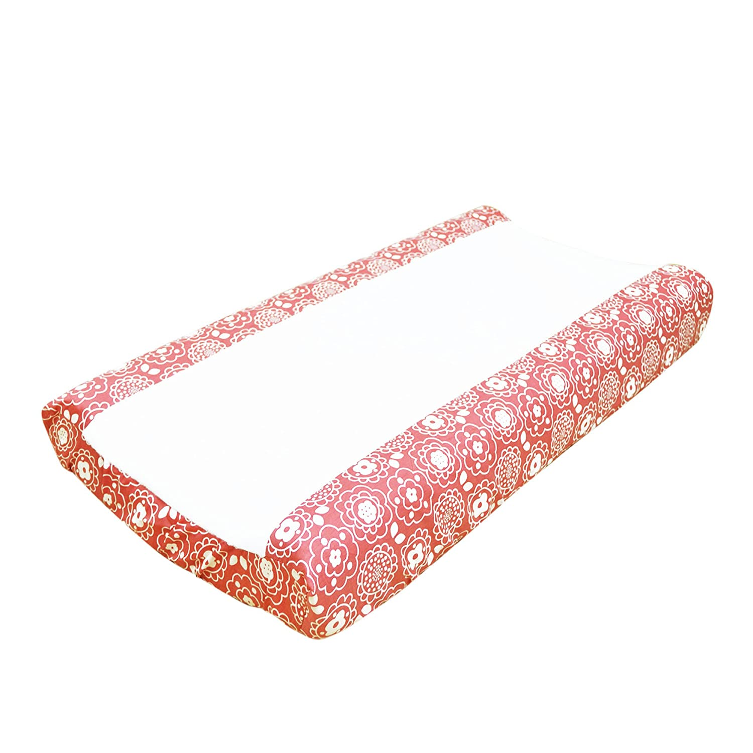 Gia and Mila Coral Pink Baby Girl Changing Pad Cover, Floral Design