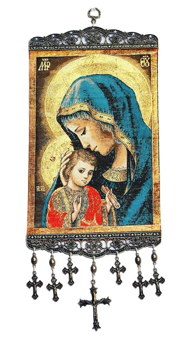 Madonna & Child Textile Art Tapestry Icon Banner Wall Decor RealSimpleGifts whmGOLD
