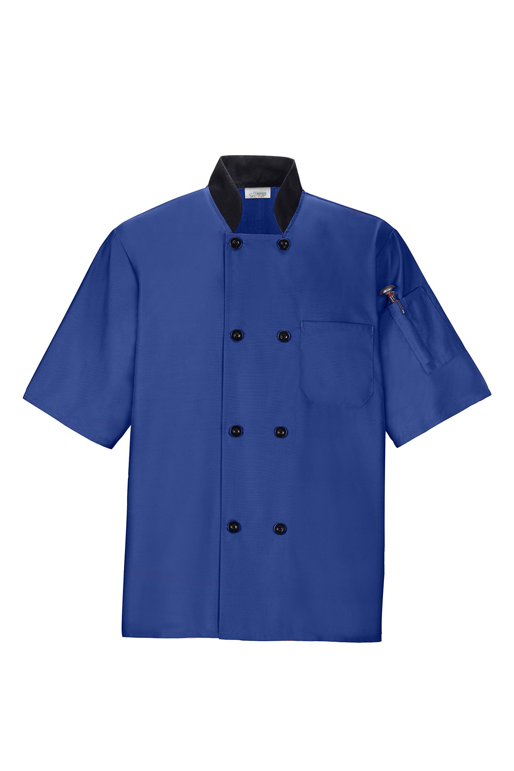 Happy Chef Lightweight Chef Coat (Large, Royal Blue)
