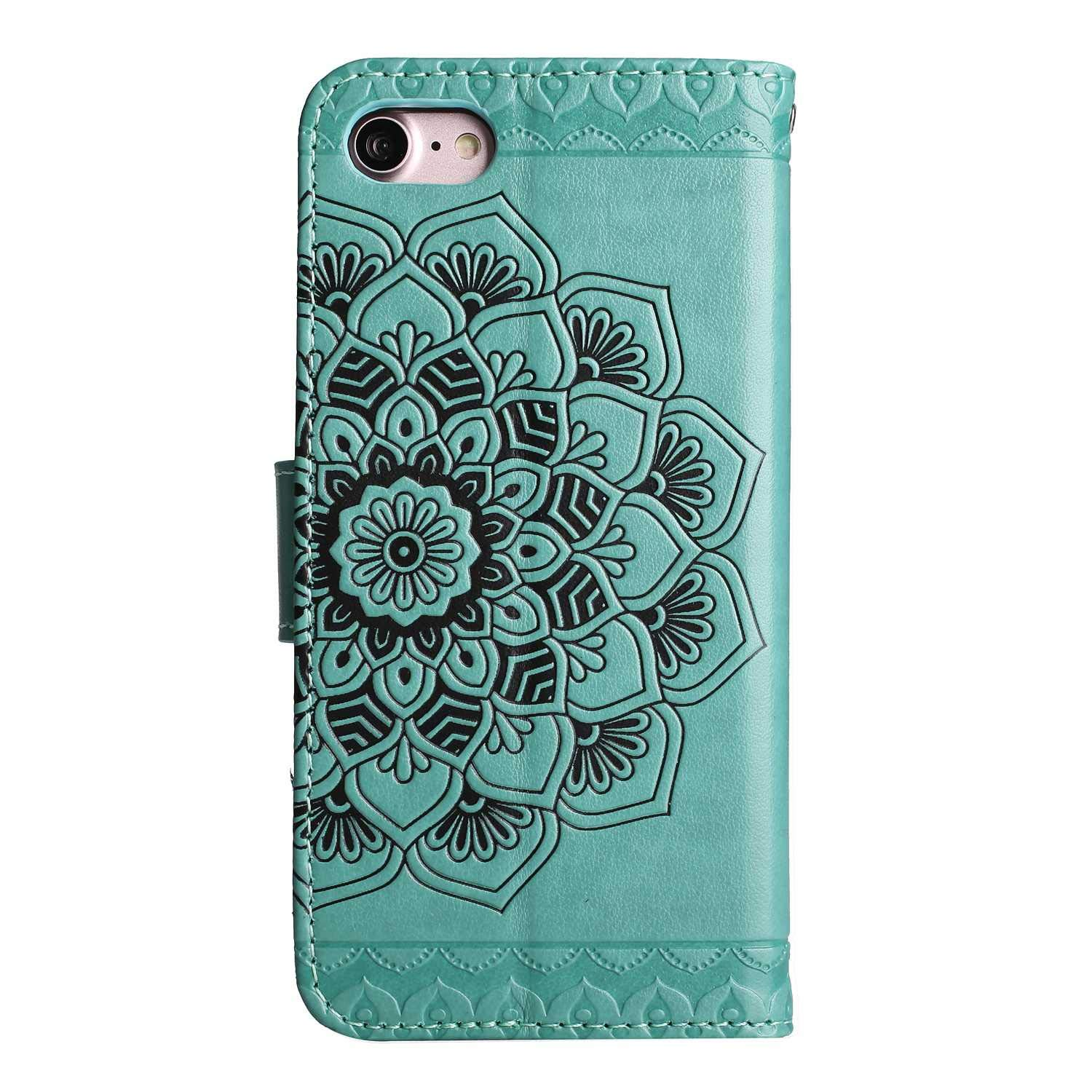 iPhone 7 UNEXTATI 3D Emboss Mandala Flower PU Leather Flip Wallet Cover Case with Card Slots and Kickstand for Apple iPhone 7 iPhone 8 iPhone 8 Case Blue