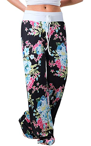 US-straight Women/'s Floral Print Comfy Stretch Drawstring Palazzo Wide Leg Pants