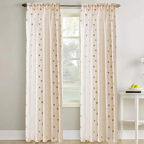Amrapur Overseas Sheer Textured Metallic Dots Curtain Set of 2, Rose Gold