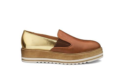 Soldini Mocasines de Piel Para Mujer Marrón Platino Cuoio 39: Amazon.es: Zapatos y complementos