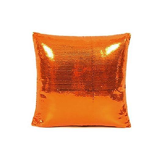 vLoveLife Orange Glitter Sequins Cushion Pillow Cover Solid Satin