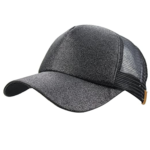 5c1f7249fcbda Womens Summer Glitter Messy Bun Mesh High Ponytail Baseball Tennis Sun Hat  Cap at Amazon Women s Clothing store