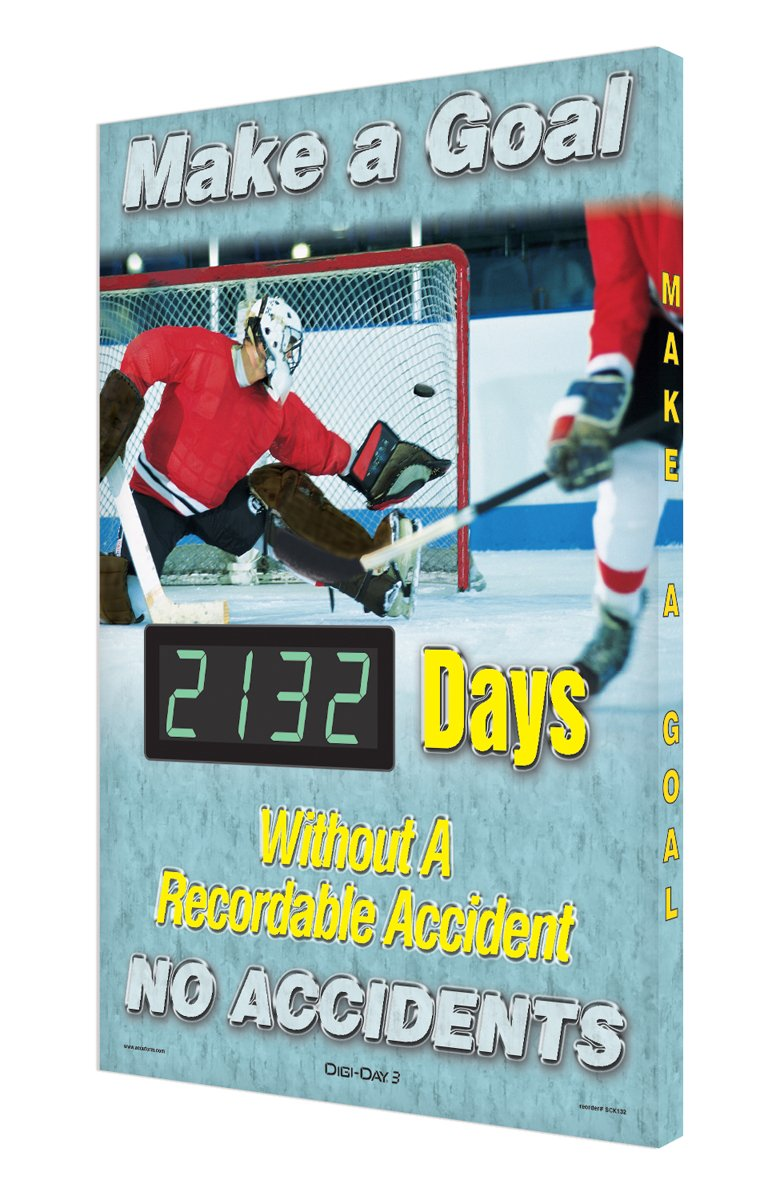 Accuform Digi-Day 3 Electronic Safety Scoreboard,''MAKE A GOAL - NO ACCIDENTS - #### DAYS WITHOUT A RECORDABLE ACCIDENT'' with Hockey Graphic (SCK132)