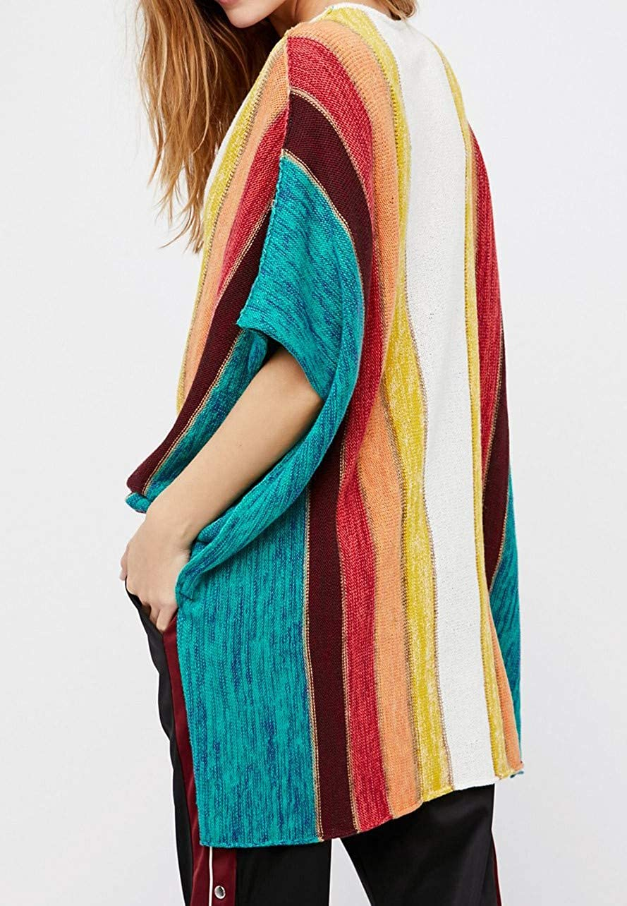 HZSONNE Womens Rainbow Color Block V Neck Hollow Out Mesh Half Batwing Sleeve Oversized Knitted Beach Cover Ups Pullover