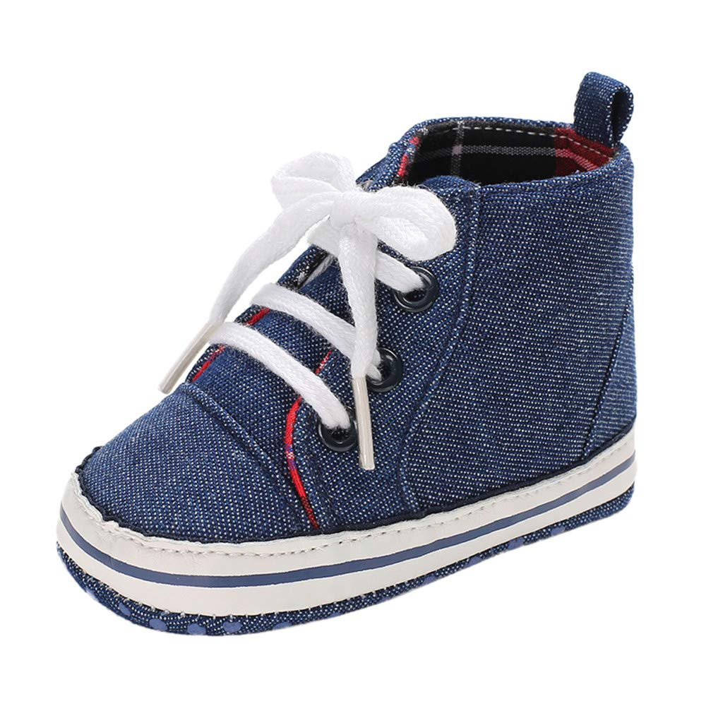 Voberry@ Baby Boys Girls Denim Hight Cut Shoes Small Bear Sneakers Lace Up Infant First Walker Shoes