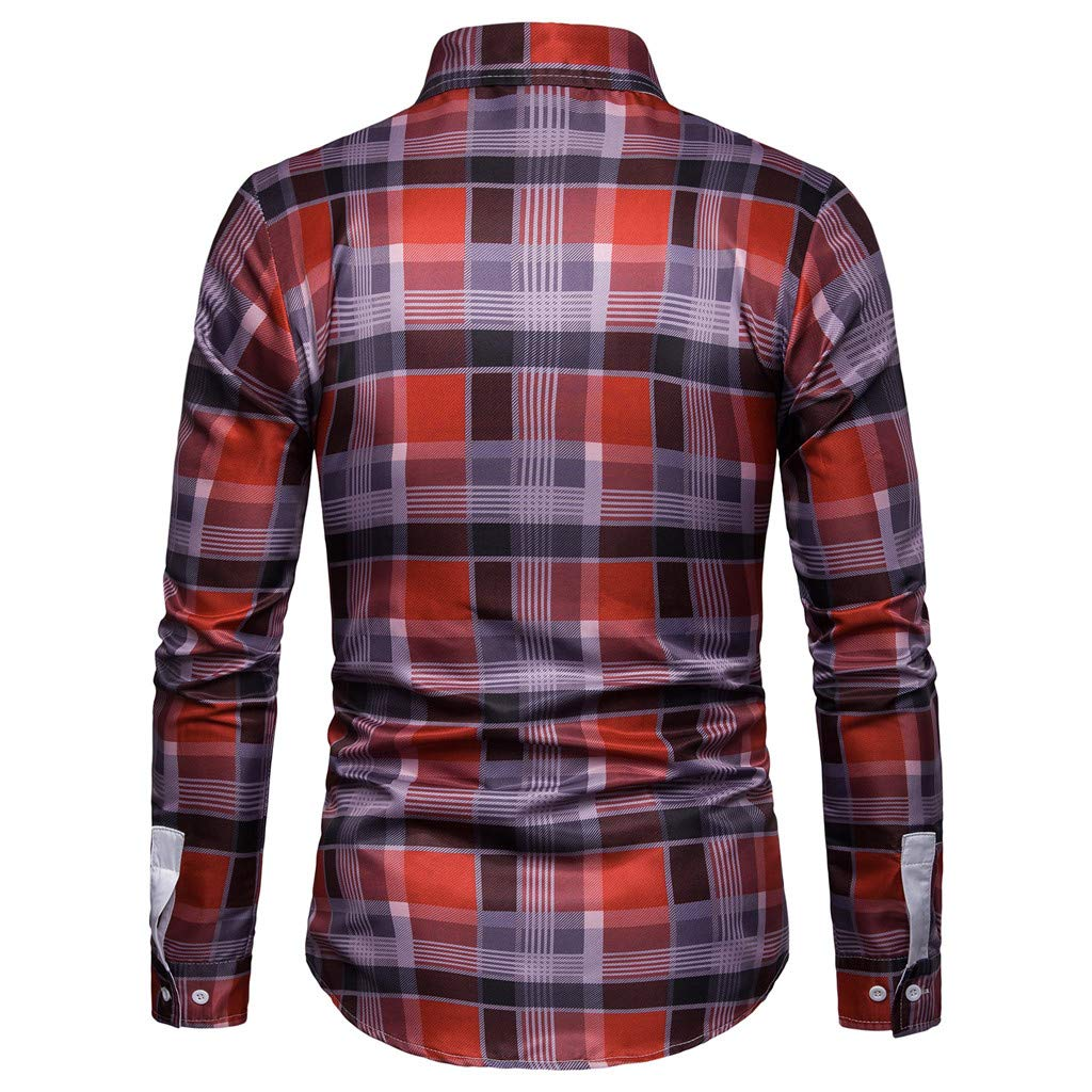 NUWFOR Men's Long Sleeve Lattice Plaid Painting Large Size Casual Top Blouse Shirts(Red,XL US/3XL AS Bust:43.2'') by NUWFOR (Image #2)