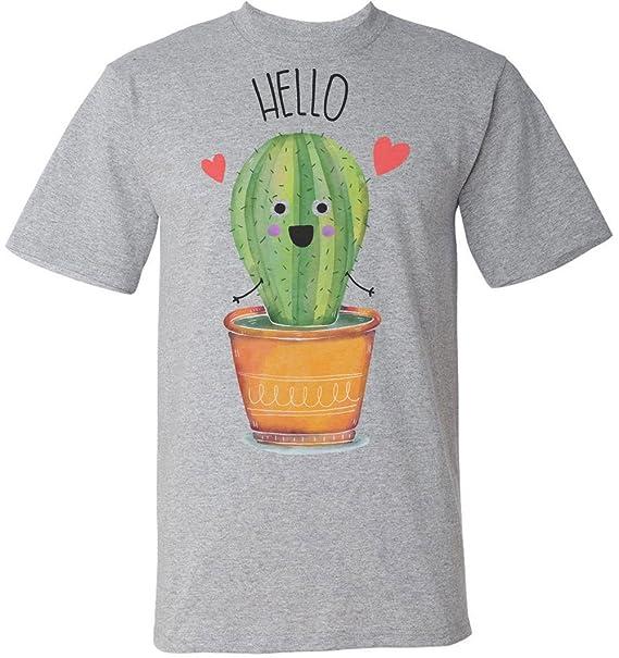 e8c73eb8e Finest Prints Cute Little Cactus Saying Hello Men's T-Shirt Small