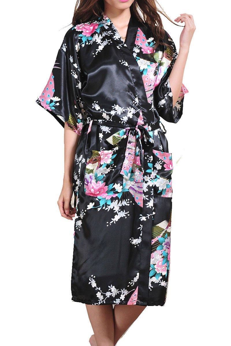 Women Kimono Robe Satin Printed Nightwear Bridesmaid Bathrobe Sleepwear(Black,Tag 3XL)