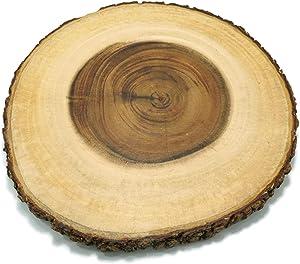 PLWOOD Acacia Tree Bark Edge Server Board - Slab Serving Board, Serving Platter and Cutting Board for Cheese, Cake, Crackers, Charcuterie, natural and Organic, Medium, 10