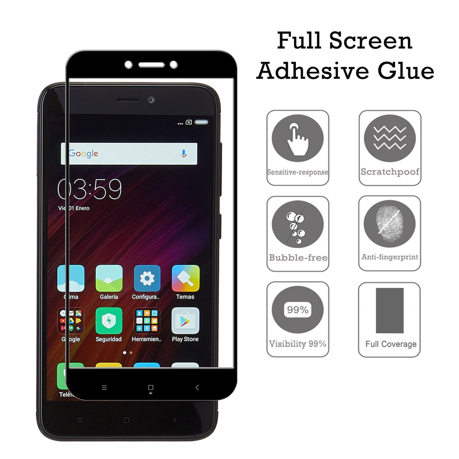 Amazon KTTWO Xiaomi Redmi 4X Screen Protector Glass 2PACK Full Screen Coverage Anti Scratch Bubble Free Tempered Glass Screen Protector with Full