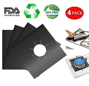 Pack de 4 protectores de gas gama cocina de gas hornillo, quemador Liners Covers - reutilizable, antiadherente, aptas para lavavajillas para estufa ...