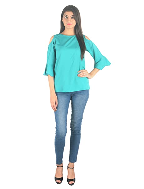 d60566f24f918a STakriti1 American Crepe Mint Off Shoulder Cut Sleeves Top for Girls Women  - Small