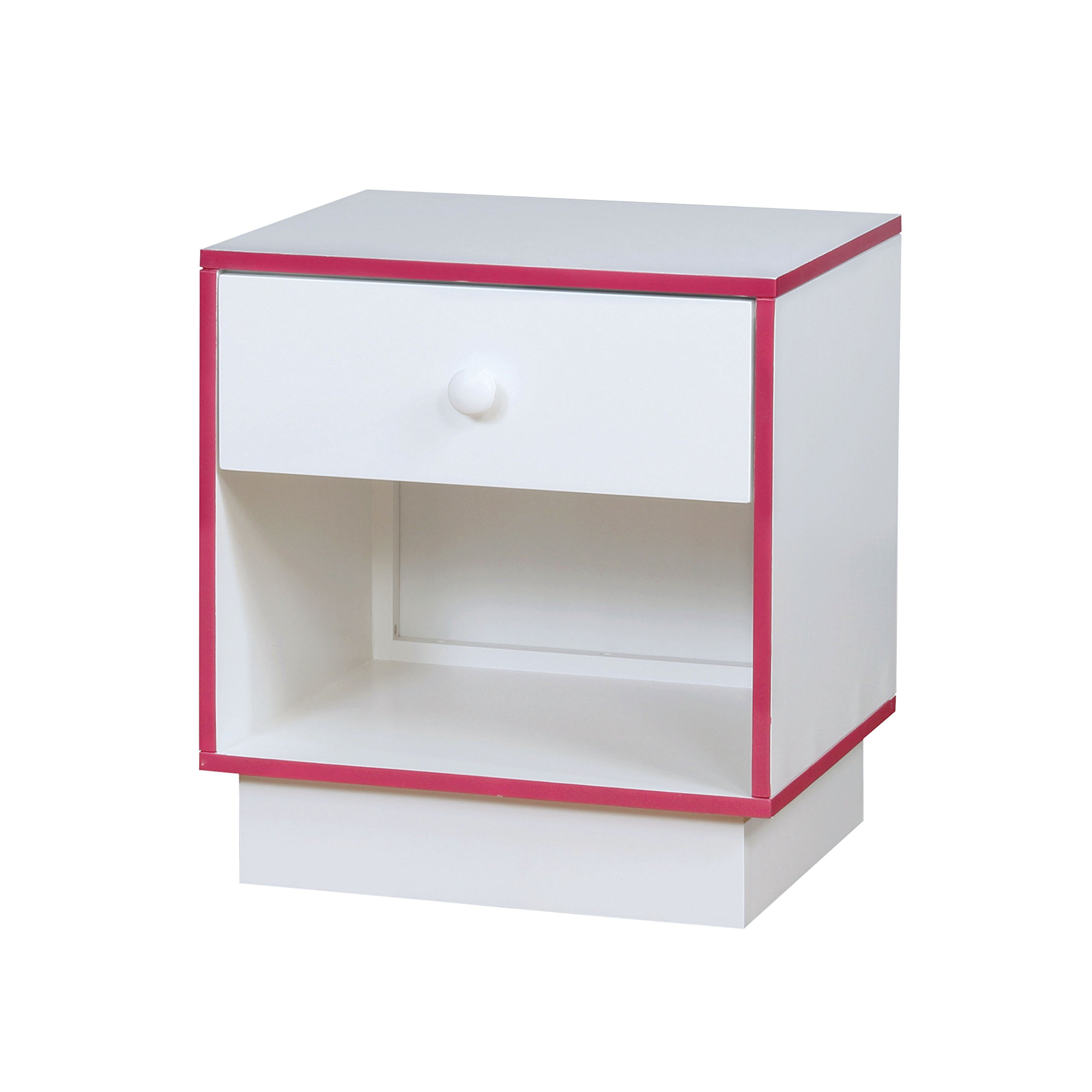 HOMES: Inside + Out IDF-7852PK-N Wexler Nightstand Childrens, Pink/White