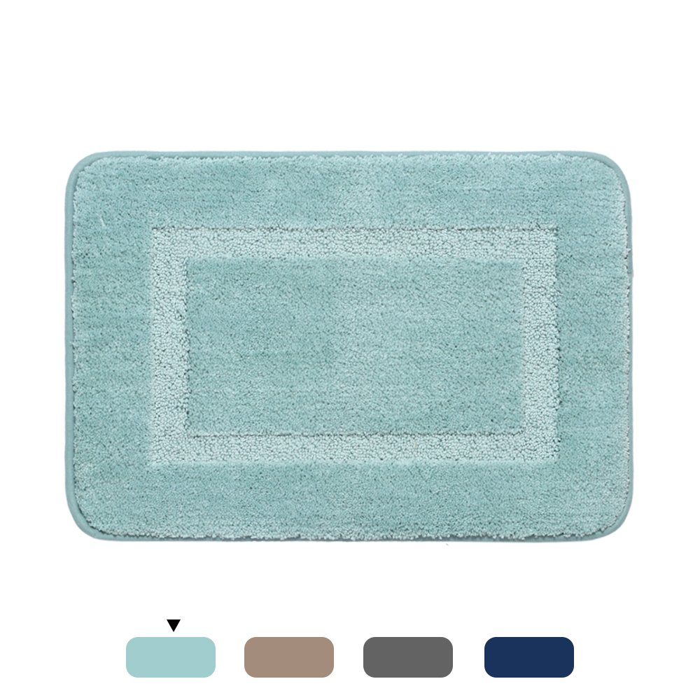 H.VERSAILTEX 20x32 inch Oversize Non-Slip Bathroom Rug Shag Mat Soft Texture Floor Mat Washable Bath Mats Water Absorbent Microfibers Rugs for Kitchen, Eggshell Blue