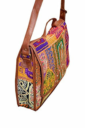 17a60fff4b Amazon.com  WOMAN-SHOULDER-BAG-INDIAN-BANJARA-EMBROIDERY-ETHNIC-VINTAGE-HANDMADE  WOMAN BG87  Clothing