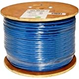Vertical Cable Cat6, 550 MHz, Shielded, 23AWG, Solid Bare Copper, 1000ft, Blue, Bulk Ethernet Cable