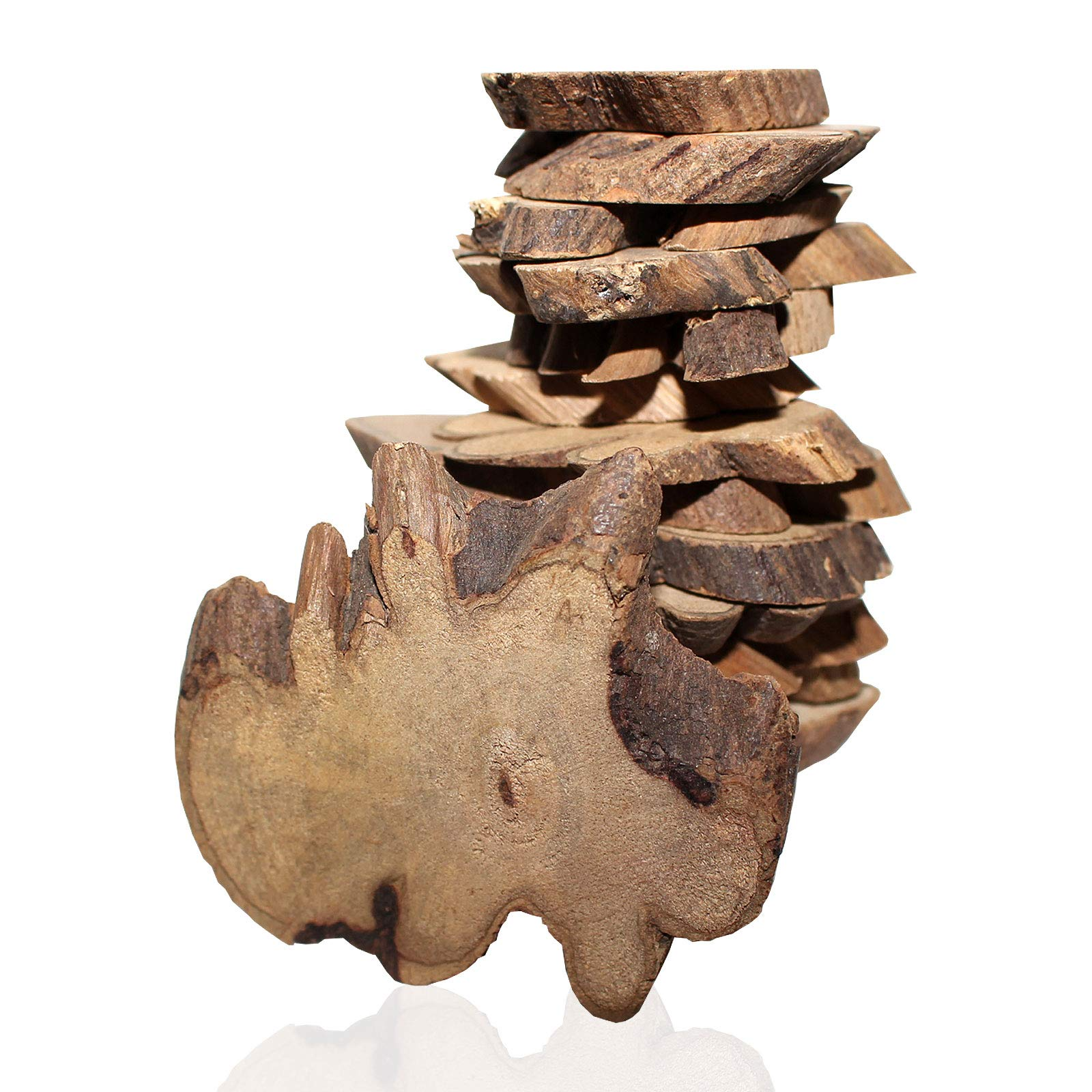 180 pcs Rustic Natural Wooden Slices (500g Pack Approx) - Wood Log Chips with Tree Bark (2 - 5.5cm ) - 5 mm Thickness Slices for Wooden Craft Embellishments and Wedding Centerpieces Decoration