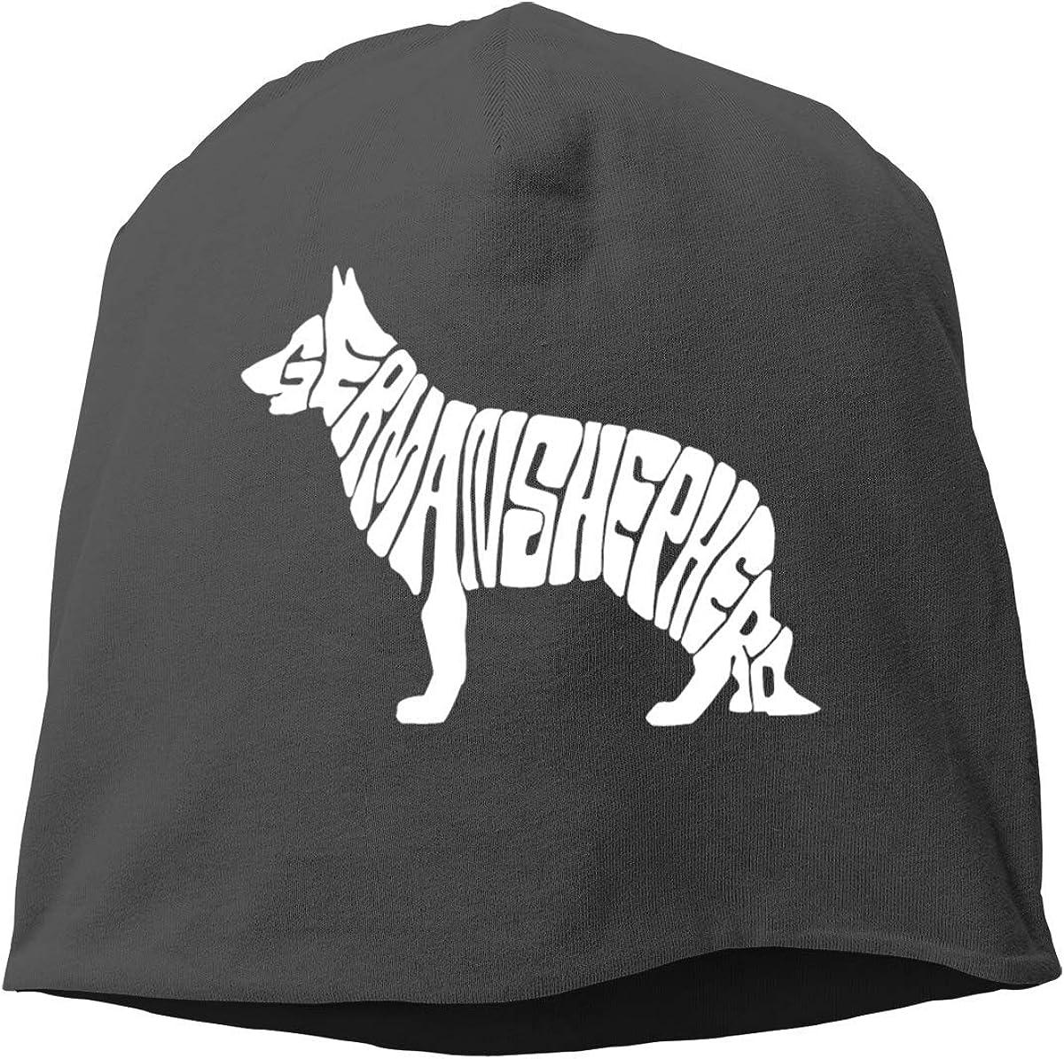 German Shepherd White Skull Soft Beanies Cap for Mens Womens Winter BlackOne Color