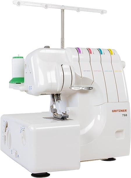 Gritzner 788 - Máquina de Coser (Máquina de Coser semiautomática, Blanco, Overlock, 4 mm, 1250 RPM, 7 mm): Amazon.es ...