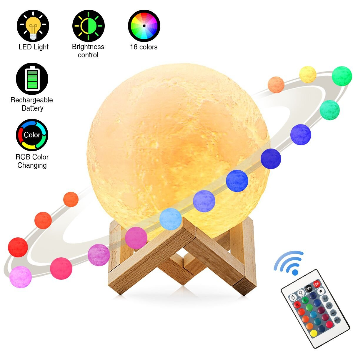 Elfeland Children Night Light LED Moon Light RGB Moon Lamp 3D Printing Mood Light 16 Colors USB Rechargeable Dimmable Remote&Touch Control for Kids Bedroom Decoration Gift (15cm)