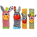 Amyove 4 x Newest Wrist Rattles Hands Foots finders Baby Infant Soft Toy Developmental by lanlan