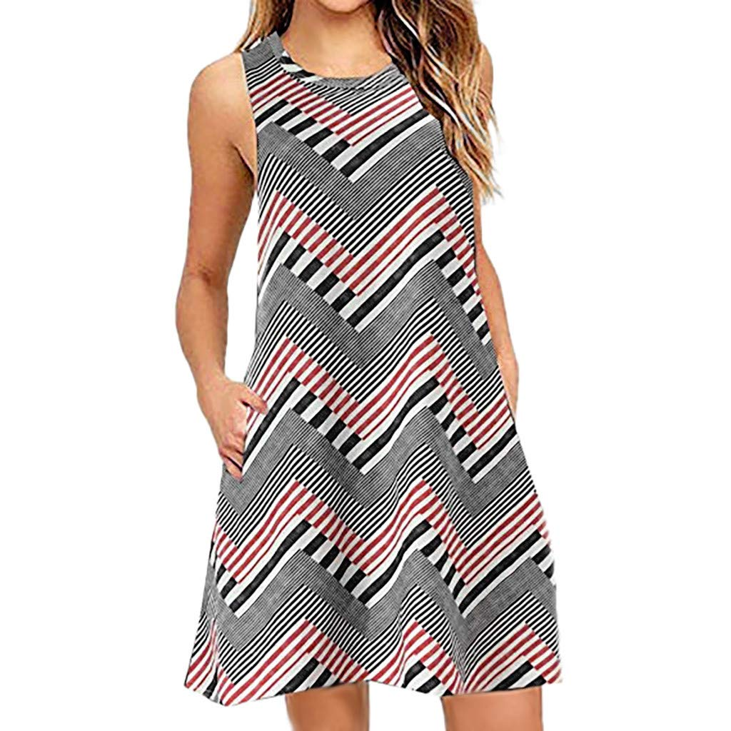 Womens Round Neck Sleeveless Mini Dress L, Gray Hopwin Lady Girls Casual Printed Swing Sundress With Pocket