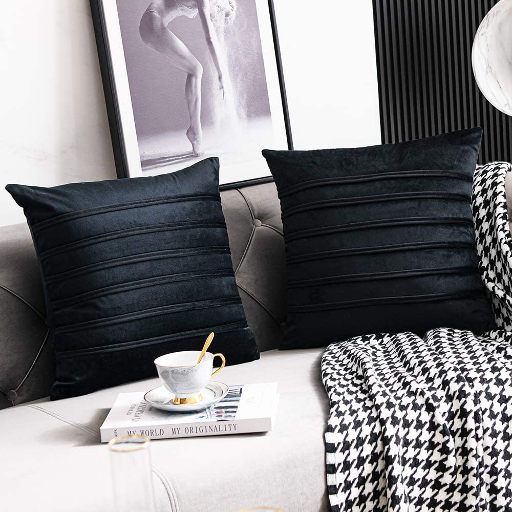 DEZENE Black Striped Decorative Pillow Covers: 2 Pack 20x20 Inch Cozy Soft Velvet Square Throw Pillow Cases for Couch