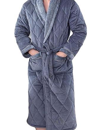 Gruesos Pijamas Bata Acolchada De Hombre De Invierno De Manga Larga Albornoces Albornoz Cálido Y Confortable: Amazon.es: Ropa y accesorios