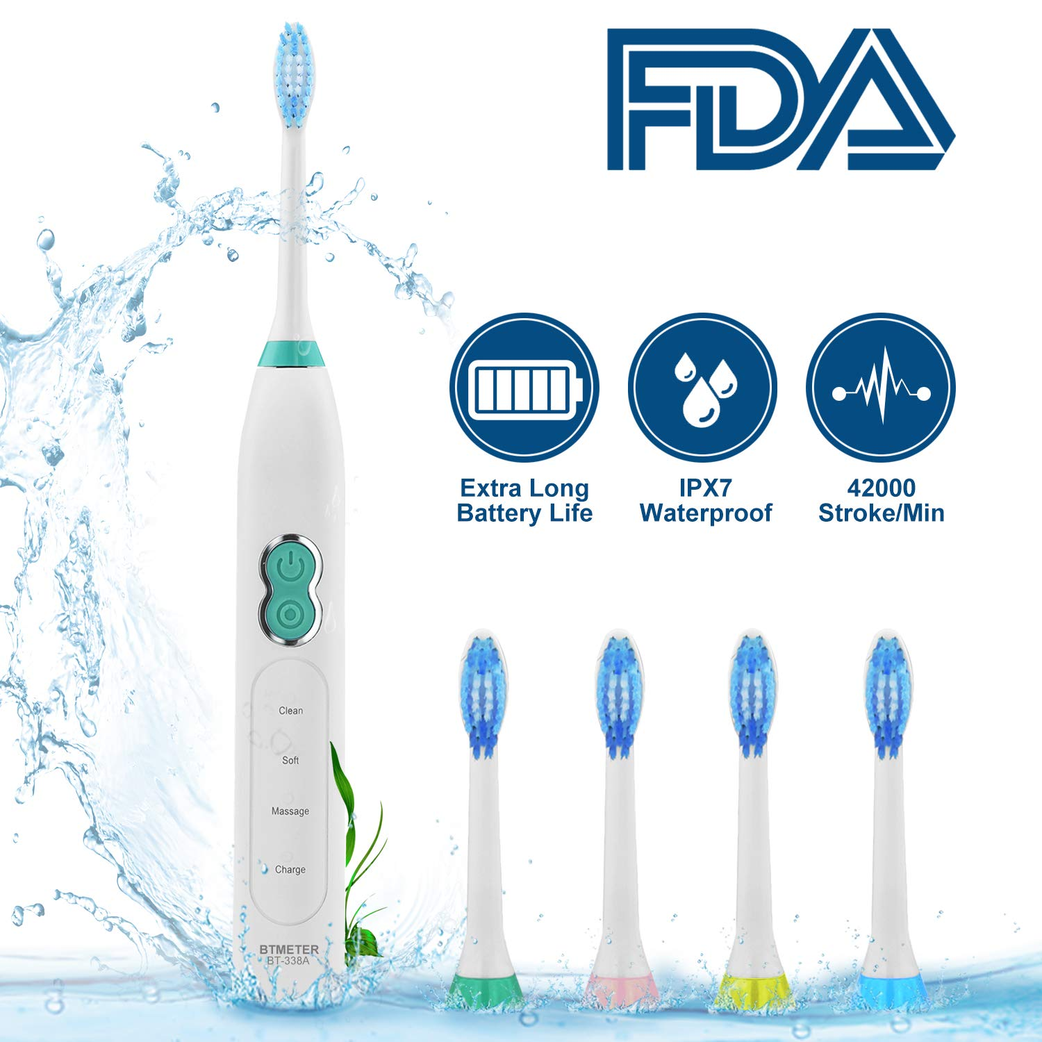 Electric Sonic Rechargeable Toothbrush up to 42000 rpm with Smart Timer,3 Brushing Modes Clean Soft Massage,4 Replacement Heads for DiamondClean,IPX7 Waterproof BTMETER 338A